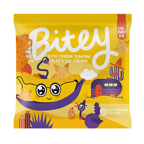 Экструдированные мультизлаковые фигурки паффы TAKE A BITEY со вкусом банан 20 г