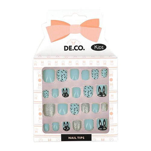 Набор детских накладных ногтей DE.CO. KIDS самоклеящиеся Rabbits 24 шт