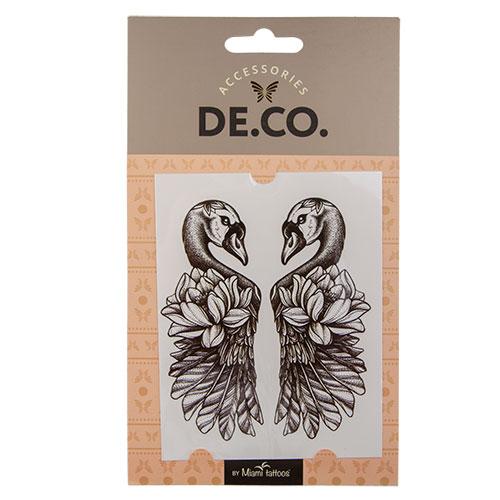Татуировка для тела `DE.CO.` REAL TATTOO by Miami tattoos переводная (Swans)Украшения для тела и волос<br>Miami Tattoos – известный бренд переводных татуировок, дизайны для которых разрабатывают лучшие татуировщики и художники. <br>В новой коллекции REAL TATTOO от Miami Tattoos – черные татуировки, неотличимые от настоящих!<br>