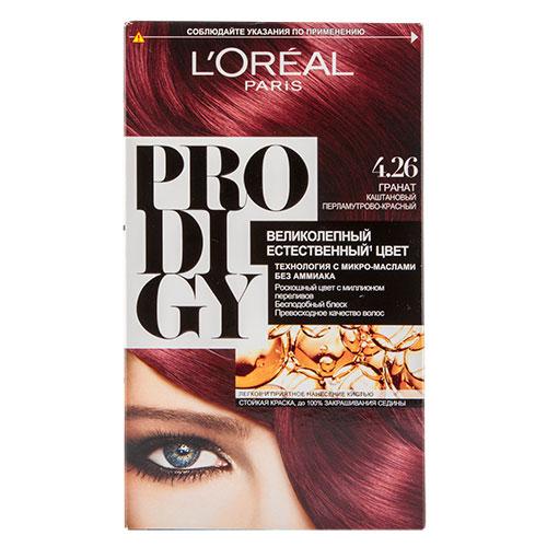Крем-краска для волос LOREAL PRODIGY тон 4.26 (Гранат) 60 млОкрашивание<br>Краска для волос серии «Prodigy» совершила революционный прорыв в окрашивании волос. Новейшая технология состоит в использовании особых микромасел, которые, проникая в самый центр волоса, наполняют его насыщенным, совершенным свой чистотой цветом. Объемный цвет, полный переливов разнообразных оттенков достигается идеальной гармонией красящих пигментов. Кроме создания поразительного цвета микромасла также разглаживают поверхность волос, придавая тем самым ослепительный блеск. Равномерное окрашивание волос по всей длине, эффективное закрашивание седины и сохранение здоровой структуры волос — вот результат действия краски «Prodigy» без аммиака.<br>В состав упаковки входит: красящий крем (60 г); проявляющая эмульсия (60 г); уход-усилитель блеска (60 мл);  пара перчаток; инструкция по применению.<br>