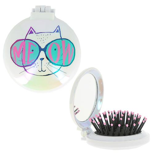 Купить Расческа для волос LADY PINK MEOW с зеркалом белая, КИТАЙ/ CHINA
