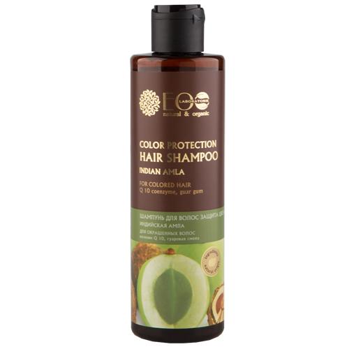 Шампунь для волос `EO LABORATORIE` Защита цвета 250 млШампуни <br>Шампунь на мягкой экологичной моющей основе, бережно очищает волосы, не повреждает естественный защитный барьер кожи и волос. <br>Экстракт амлы укрепляет волосы по всей длине, улучшает текстуру волос, усиливает и сохраняет цвет волос, улучшает питание волосяных фолликулов, благодаря чему улучшается рост волос.  <br>Коэнзим Q 10 (Ubiquinone) повышает биодоступность клеток, улучшает состояние кожи головы, помогает поддержать баланс влаги, усиливает блеск окрашенных волос.  <br>Гуаровая смола помогает сохранить интенсивность цвета, прекрасно кондиционирует, улучшает текстуру волос, делает их более послушными и податливыми для укладки.<br>