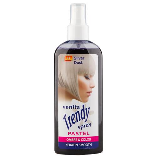 Спрей для волос красящий `VENITA` TRENDY COLOR Silver dust 75 млОкрашивание<br>Тонирующий спрей для светлых, блонд, осветленных и седых волос. Цветной эффект до 4 мытья волос. Питательная формула с кератином  регенерирует и выглаживает волосы.<br>
