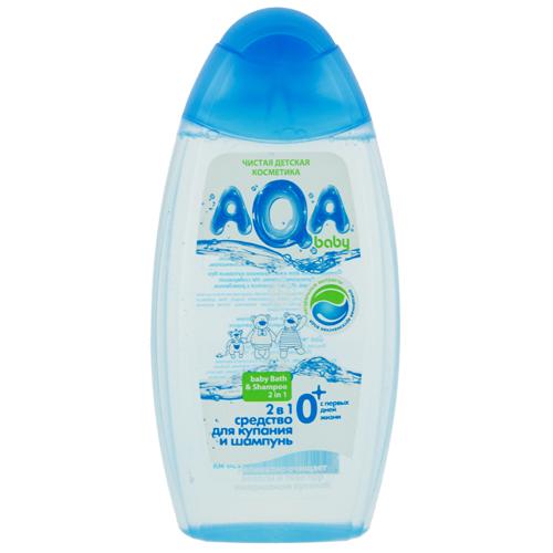 Средство для купания и шампунь детский `AQA BABY` 2 в 1 (с первых дней жизни) 250 млСредства по уходу<br>Мягко очищает нежную кожу тела и волос при купании, сохраняя ее естественный кислотно-липидный слой. Не вызывает сухости и шелушения. С ромашкой, календулой и Д-пантенолом. Оптимально для ежедневного купания без слез. Гипоаллергенно. Не содержит красителей. Используется с рождения.<br>