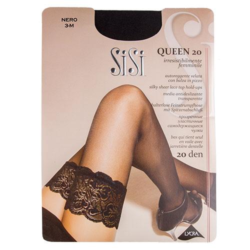 Чулки женские `SISI` QUEEN 20 den (nero) р-р 3Чулки<br>Тонкие прозрачные чулки 20 DEN с кружевной резинкой на силиконовой основе и невидимым мыском.<br>