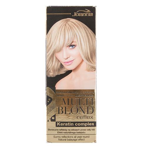Спрей-осветлитель для волос `JOANNA` MULTI CREAM  150 млОкрашивание<br>Осветлитель Multi Blond Reflex постепенно осветляет  волосы придавая им солнечные отблески, а тем самым эффект натурального, летнего мелирования. Современный способ нанесения в спрее позволяет быстрое и удобное использование, а кератиновый комплекс придает волосам мягкость и шелковистость.<br>