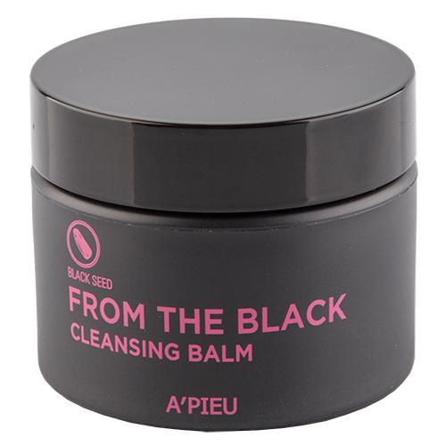 Бальзам для лица `A`PIEU` FROM THE BLACK с черными семенами (очищающий) 40 гУмывание<br>Очищающий бальзам для лица APieu From The Black Cleansing Balm содержит масло виноградных косточек, масло ши, масло кокоса, пальмовое масло, какао-масло. <br>Благодаря тающей текстуре, обеспечивает глубокое очищение кожи от загрязнений и водостойкой косметики, не вызывая сухость. Способствует глубокому очищению пор и препятствует образованию сальных пробок. Отлично абсорбирует омертвевшие клетки, придавая коже здоровый и чистый вид. <br>Масло виноградных косточек чрезвычайно богато витаминами (A, B, C, E, PP), что помогает сохранить молодость кожи, и избежать таких ее возрастных изменений, как потеря влажности, упругости и эластичности, истончение, иссушение, образование морщин. Не содержит ПАВ.<br>