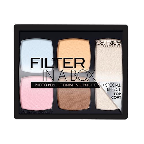 Палетка для макияжа лица CATRICE FILTER IN A BOX (корректор, мерцающая пудра)Корректор<br>Палитра для выравнивания цвета кожи лица, как в фото-фильтре. Синий создает холодный световой эффект; розовый - цвет свежести; желтый корректирует темные области и создает теплый световой эффект; а коричневый обеспечивает легкий загар.<br>