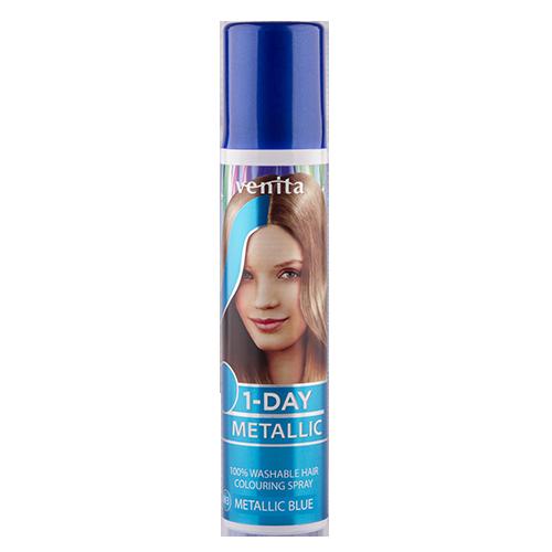 Спрей для волос оттеночный `VENITA` 1-DAY METALLIC Metallic Blue (голубой металлик) 50 млОкрашивание<br>Современный, легкий в использовании, продукт для быстрого окрашивания и стилизации волос. Предназначен для окрашивания отдельных прядей, для всей поверхности волос, а ткаже, для окрашивания отдельных областей с использованием трафаретов. Не содержит прочных красителей, аммиака и окислителей - безопасный для волос.<br>