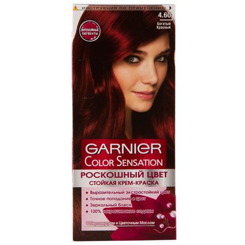 Краска для волос `GARNIER` `COLOR SENSATION` тон 4.60 (Богатый красный)Окрашивание<br>Стойкая крем - краска c перламутром и цветочным маслом. Выразительный экстрастойкий цвет. Точное попадание в цвет. Зеркальный блеск. 100% закрашивание седины. <br>Узнай больше об окрашивании на http://coloracademy.ru/<br>В состав упаковки входит: флакон с молочком-проявителем (60 мл); тюбик с крем-краской (40 мл); крем-уход после окрашивания (10 мл); инструкция; пара перчаток.<br>