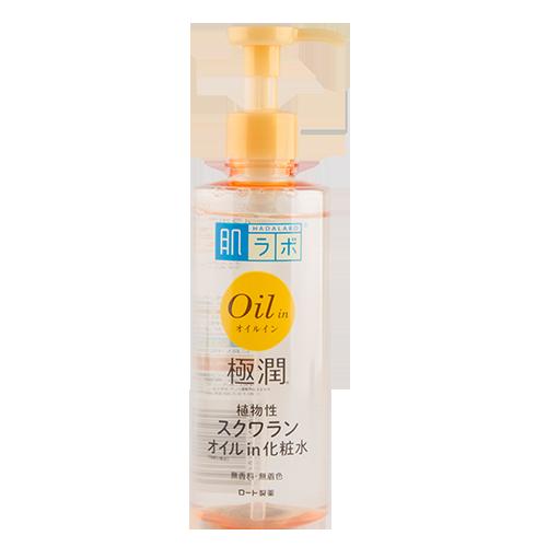 Лосьон для лица `HADA LABO` GOKUJYUN  с маслом 220 млТоники и молочко<br>Инновационная формула лосьона обеспечивает прекрасное увлажнение кожи. Легкий и прозрачный лосьон способен смягчить и наполнить кожу влагой благодаря содержанию  в его составе жироподобного вещества (сквалана), которое обладает большой проникающей способностью, придает коже шелковистость, уменьшает проявление морщин, повышает эластичность кожи, ускоряет ее регенерацию. Лосьон хорошо впитывается в кожу, не оставляя липкости, обеспечивает длительный эффект увлажнения.  В то же время  ниацинамид (стабильная форма витамина В3) регулирует клеточный метаболизм, что благотворно влияет на состояние зрелой или проблемной кожи, улучшая ее текстуру, восстанавливая однородность и здоровый цвет лица.<br>