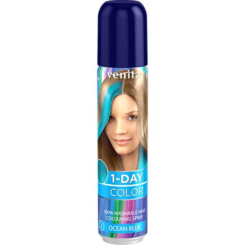 Спрей для волос оттеночный `VENITA` 1-DAY COLOR Ocean Blue (морская волна) 50 млОкрашивание<br>Современный, легкий в использовании, продукт для быстрого окрашивания и стилизации волос. Предназначен для окрашивания отдельных прядей, для всей поверхности волос, а ткаже, для окрашивания отдельных областей с использованием трафаретов. Не содержит прочных красителей, аммиака и окислителей - безопасный для волос.<br>