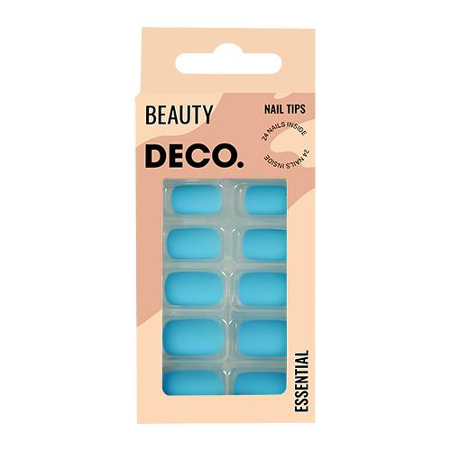 Набор накладных ногтей DECO. ESSENTIAL matt blue 24 шт + клеевые стикеры 24 шт