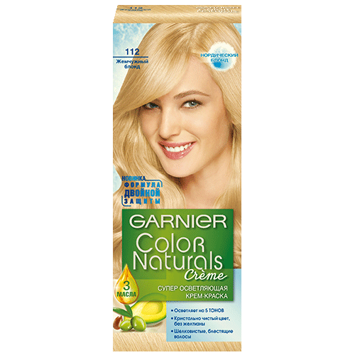 Краска для волос `GARNIER` `COLOR NATURALS` тон 112 (Жемчужный блонд)Окрашивание<br>Крем-краска Garnier Color Naturals содержит масла оливы, авокадо и карите, которые питают волосы во время окрашивания. В результате цвет получается насыщенным и стойким, а волосы становятся мягкими и шелковистыми. 100% закрашивание седины.<br>Узнай больше об окрашивании на http://coloracademy.ru/.<br>В состав упаковки входит: флакон с молочком-проявителем (60 мл); тюбик с обесцвечивающим кремом (40 мл); 2 упаковки с обесцвечивающим порошком (2,5 г); крем-уход после окрашивания (10 мл);  инструкция; пара перчаток.<br>