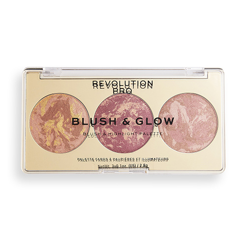 Палетка для макияжа лица REVOLUTION PRO BLUSH & GLOW 3 в 1 бронзер, румяна, хайлайтер тон cranberry glow