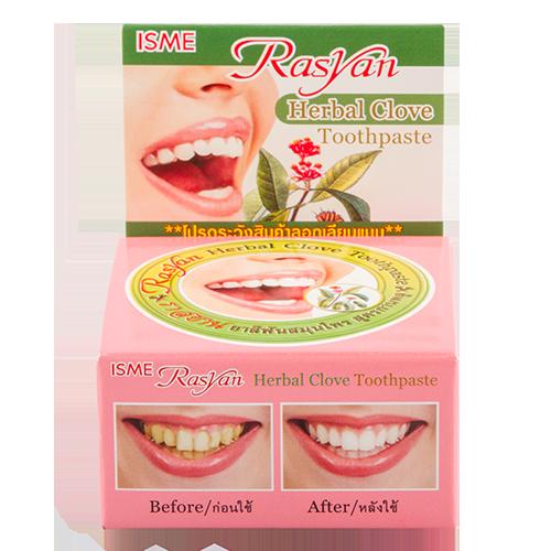 Паста зубная `RASYAN` травяная с гвоздикой 25 гЗубные пасты<br>Уникальный растительный состав пасты, в который входят активные вещества, такие как масло гвоздичного дерева и камфары, обладают отбеливающим эффектом и способствуют устранению и возникновению зубного камня, устраняет налет, образующийся на зубах от кофеин содержащих напитков, табака и чая. Придает длительное ощущение. Способствует сохранению здоровья полости рта, уничтожая вредоносные бактерии.<br>