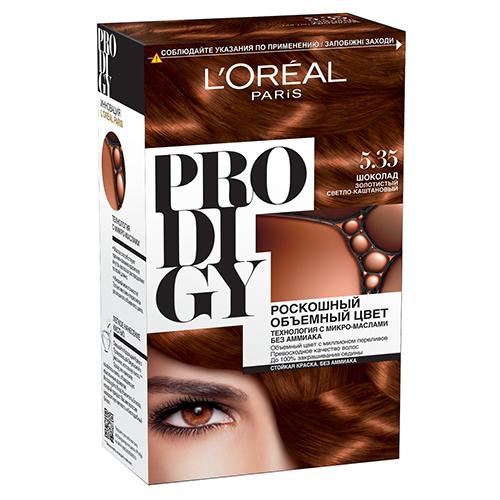 Крем-краска для волос `LOREAL` `PRODIGY` тон 5.35 (Шоколад)Окрашивание<br>Краска для волос серии «Prodigy» совершила революционный прорыв в окрашивании волос. Новейшая технология состоит в использовании особых микромасел, которые, проникая в самый центр волоса, наполняют его насыщенным, совершенным свой чистотой цветом. Объемный цвет, полный переливов разнообразных оттенков достигается идеальной гармонией красящих пигментов. Кроме создания поразительного цвета микромасла также разглаживают поверхность волос, придавая тем самым ослепительный блеск. Равномерное окрашивание волос по всей длине, эффективное закрашивание седины и сохранение здоровой структуры волос — вот результат действия краски «Prodigy» без аммиака.<br>В состав упаковки входит: красящий крем (60 г); проявляющая эмульсия (60 г); уход-усилитель блеска (60 мл);  пара перчаток; инструкция по применению.<br>