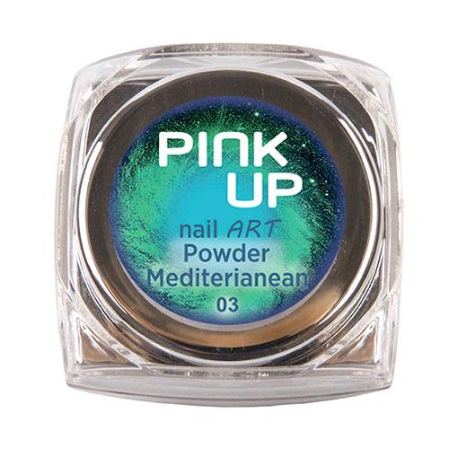 Втирка для ногтей `PINK UP` NAIL ART тон Mediterianean 3 грДизайн ногтей<br>Зеркальная втирка для ногтей Pink UP, 3гр Предназначена для втирания в верхнее покрытие без липкого слоя поверх лака, гель-лака или геля.<br>