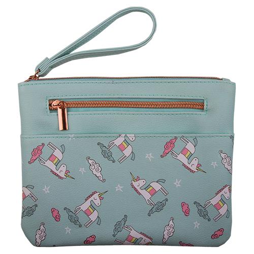 Купить Косметичка квадратная пдоская с принтом LADY PINK UNICORN голубая, КИТАЙ/ CHINA