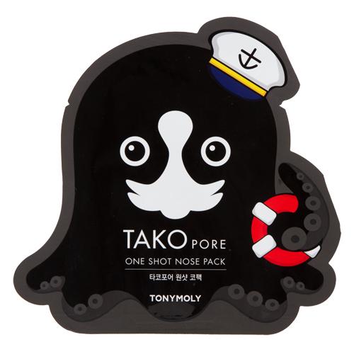 Пластырь для носа и лба `TONYMOLY` TAKO PORE против черных точек 1 штМаски<br>Словно осьминог, который вцепившись однажды уже не отпустит, пластырь хорошо прилегает и берет на себя заботу о ваших порах. Пластырь выполнен в форме осьминога, который охватывает большую область – не только нос, но и всю переносицу, и зону около носа. Он эффективно очищает кожу от черных точек. Пластырь прошел все дерматологические испытания.<br>