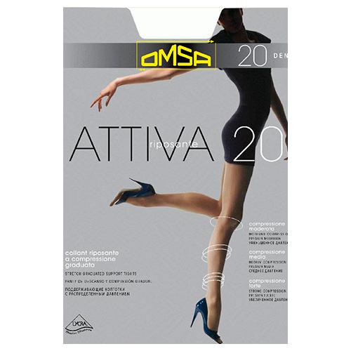 Колготки женские OMSA ATTIVA 20 den (Nero) р-р 5Колготки<br>Тонкие эластичные поддерживающие колготки 20 DEN с распределенным давлением по ноге, корректирующими штанишками с  комфортными швами и гигиеничной ластовицей.<br>