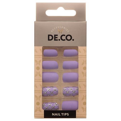 Набор накладных ногтей DE.CO. lilac rhomb (24 шт + клеевые стикеры 24 шт)Дизайн ногтей<br>Набор накладных ногтей позволит создать ультрастойкий маникюр за несколько минут. В состав набора входят: типсы (24 шт. в 12 размерах), клеевые стикеры (24 шт.).<br>