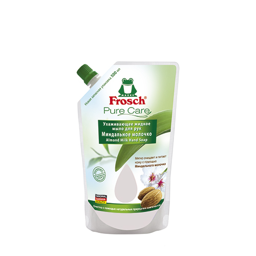 Мыло жидкое - сменный блок `FROSCH` Миндальное молочко 500 млОчищение<br>Ухаживающее мыло Миндальное молочко побалует вашу кожу особенно мягкими компонентами и позаботится о приятном и нежном уходе. Ваши руки приобретут красивый и ухоженный вид, а после мытья рук на них останется приятный аромат миндаля.<br>