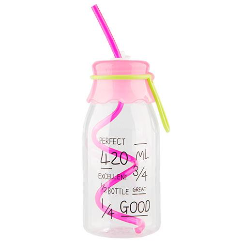 Купить Бутылка для воды FUN с трубочкой pink 550 мл, КИТАЙ/ CHINA