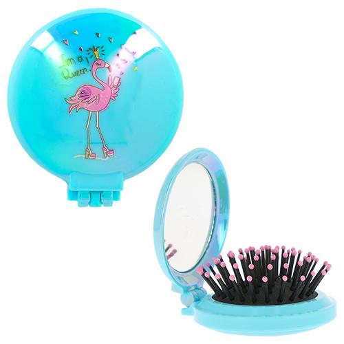 Купить Расческа для волос LADY PINK FLAMINGO с зеркалом голубая, КИТАЙ/ CHINA