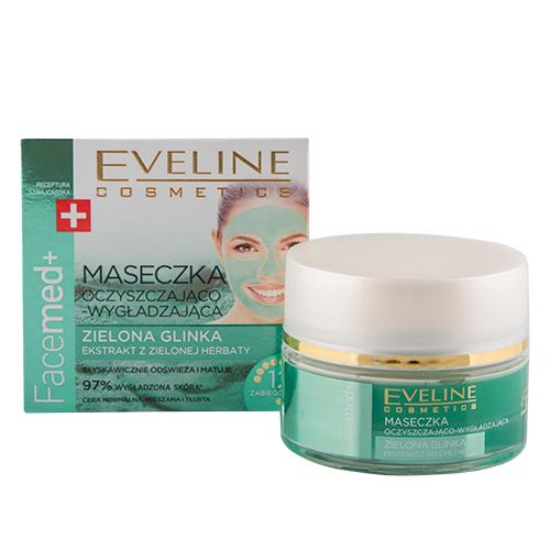 Купить Маска для лица EVELINE FACEMED+ Зеленая глина очищающе-разглаживающая 50 мл, ПОЛЬША/ POLAND