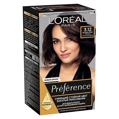 Краска для волос LOREAL PREFERENCE тон 3.12 Мулен Руж