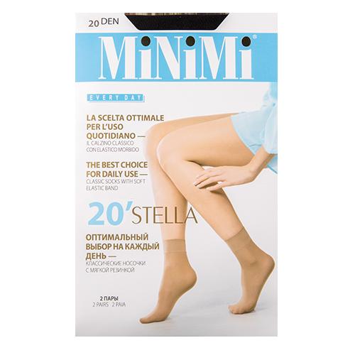 Носки женские `MINIMI` STELLA 20 den (Nero) 2 парыГольфы и носки<br>Тонкие матовые носки с укрепленным мыском, с комфортной резинкой.<br>