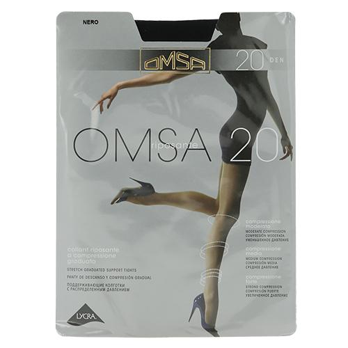 Колготки женские `OMSA` 20 den (Nero) р-р 4Колготки<br>Тонкие эластичные поддерживающие колготки 20 DEN с распределенным давлением по ноге, корректирующими штанишками с  комфортными швами и гигиеничной ластовицей.<br>