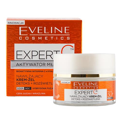 Крем-гель для лица `EVELINE` `EXPERT C` АКТИВАТОР МОЛОДОСТИ дневной и ночной 30+ (увлажняющий) 50 млАнтивозрастной уход<br>УВЛАЖНЯЮЩИЙ КРЕМ-ГЕЛЬ  предназначен для комплексного ухода за кожей после 30 лет. Формула обогащена 3-мя биоактивными компонентами: концентрированным витамином C нового поколения с экстрактами зеленого чая и женьшеня, благодаря чему эффективно устраняет признаки усталости, выравнивает цвет лица и борется с первыми морщинами.<br>