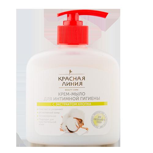Купить Крем-мыло жидкое для интимной гигиены КРАСНАЯ ЛИНИЯ Хлопок 250 мл, РОССИЯ/ RUSSIA