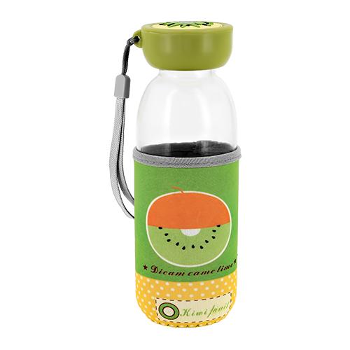 Купить Бутылка для воды FUN в чехле с фруктами Киви 380 мл, КИТАЙ/ CHINA