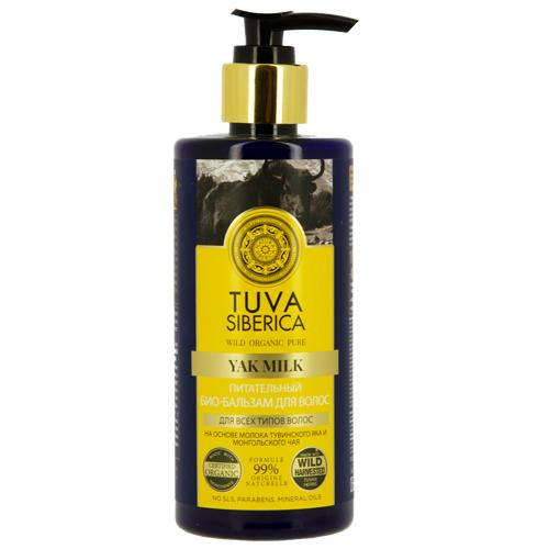 Био-бальзам для волос `NATURA SIBERICA` TUVA SIBERICA питательный 300 млБальзамы и ополаскиватели<br>Густой питательный бальзам на основе молока тувинского яка и монгольского чая смягчает и освежает волосы, обеспечивая их полноценное питание и защиту. Молоко тувинского яка — уникальный источник белка, витаминов и аминокислот. Оно почти в два раза жирнее коровьего, благодаря чему интенсивно питает волосяные луковицы, великолепно увлажняет и защищает волосы по всей длине. Монгольский чай богат витамином С, кетехинами и кофеином и отвечает за укрепляющие свойства бальзама, препятствуя выпадению волос и придавая каждой пряди естественную мягкость и пышность<br>