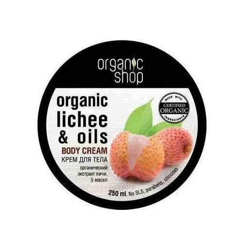 Крем для тела ORGANIC SHOP Розовый личи 250 млПитание и увлажнение<br>Легкий крем на основе органического экстракта личи и 5 масел: тиаре, авокадо, какао, лимона и герани насыщает кожу витаминами, увлажняет и питает, делая её более нежной и шелковистой.<br>