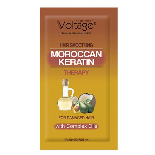 Маска для волос KHARISMA VOLTAGE с комплексом масел для поврежденных волос 20 млМаски<br>Инновационная формула, содержащая комплекс таких питательных масел, как масло авокадо, кокосовое, масло ши, кератин, превращает поврежденные волосы в блестящие, шелковистые, гладкие локоны. Масло авокадо незаменимо в уходе за окрашенными, поврежденными и чрезмерно сухими волосами.  Кокосовое масло помогает восстановить волосы и решить проблему секущихся кончиков. Масло Ши благодаря своему уникальному составу, оказывает благоприятное действие на волосы, улучшая их структуру и насыщая волосяные луковицы всеми полезными веществами. Регулярное применение маски в уходе увлажняет и питает волосы, стимулирует процессы роста, препятствует выпадению, укрепляя их.<br>