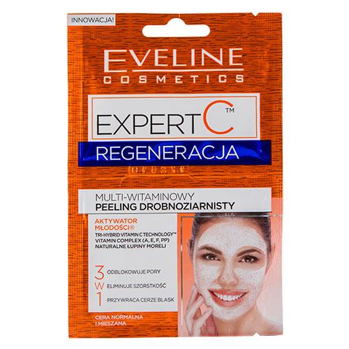 Пилинг для лица `EVELINE` `EXPERT C` 3 в 1 Регенерация 2х5 млСкрабы и пилинги<br>МУЛЬТИВИТАМИННЫЙ МЕЛКОЗЕРНИСТЫЙ СКРАБ на основе инновационной ультрарегенерирующей формулы с биоактивным витамином C<br>разработан для ухода за кожей, утратившей энергию и здоровый блеск.<br>Уникальная кремовая формула с микрочастицами натуральных косто-<br>чек абрикоса глубоко очищает кожу и поры от всех загрязнений<br>и эффективно убирает ороговевший верхний слой, придавая коже<br>идеальную гладкость, свежесть и здоровый блеск.<br>