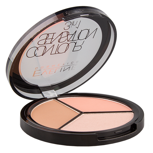 Набор для макияжа `EVELINE` CONTOUR SENSATION 3 в 1 тон 02 Peach BeigeКонтурирование<br>PALETTE FOR MAKE-UP FACE 3in1: 02-PEACH BEIGE CONTOUR SENSATION<br>