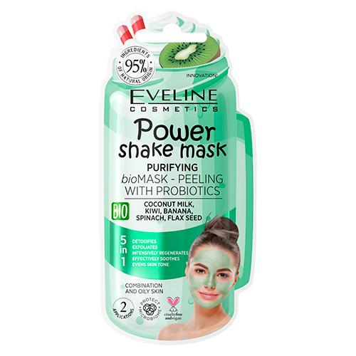 Маска для лица EVELINE POWER SHAKE с пробиотиками и кокосовым молочком очищающая 8 мл
