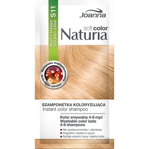 Оттеночный шампунь для волос `JOANNA` NATURIA SOFT тон 11 (Золотой песок)Окрашивание<br>Не содержит аммиака и окислителей,  цвет сохраняется до  4-8 процедур мытья волос?, Рецептура обогащена мультивитаминным комплексом, который питает и увлажняет волосы.<br>*Интенсивность цвета зависит от исходного цвета и состояния волос.<br>