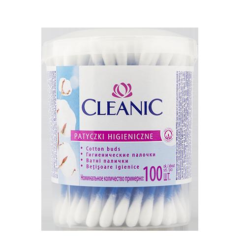 Палочки ватные `CLEANIC` круглая коробка 100 штВатные палочки и диски<br>Гигиенические палочки<br>