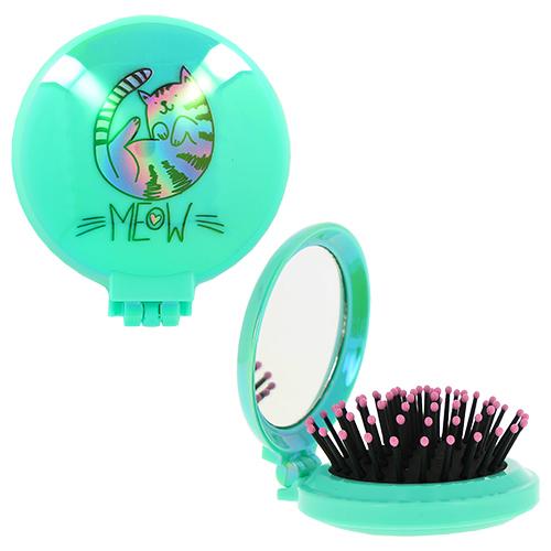 Расческа для волос LADY PINK MEOW с зеркалом мятная, КИТАЙ/ CHINA  - Купить
