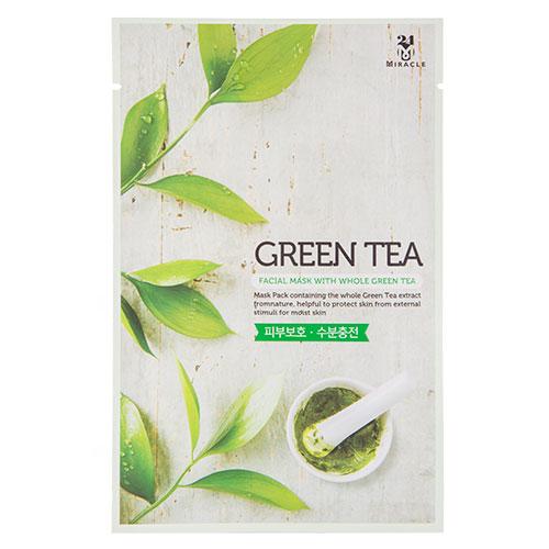 Маска для лица 24 MIRACLE с экстрактом зеленого чая 22 млМаски<br>Маска эффективно защищает кожу от внешних раздражений, благодаря экстракту зеленого чая, который прекрасно улучшает микроциркуляцию и питание кожи, увеличивает её упругость, обладает сильным противовоспалительным и антибактериальным действием. Гиалуронат натрия, входящий в состав, создает на коже невидимый барьер, препятствующий испарению влаги, улучшает структуру кожи, сокращает мелкие морщинки. Экстракт портулака эффективно тонизирует, стимулирует регенерацию тканей.<br>