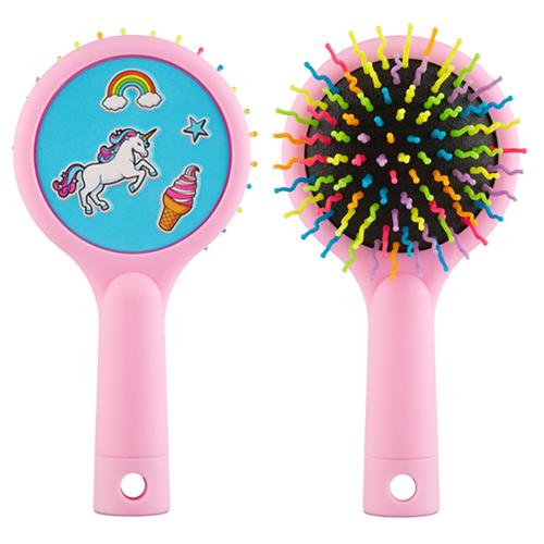 Расческа для волос MISS PINKY RAINBOW массажная розовая круглая