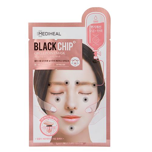 Маска для лица `MEDIHEAL` `CIRCLE POINT MASK` BLACK CHIP увлажняющая с массажным эффектом 25 млМаски<br>Инновационная маска с массажными точками работает по принципу стоунтерапии – расслабляет лицевые мышцы, улучшает кровообращение, восстанавливает  общий тонус.<br>Маска BLACK CHIP делает сухую и тусклую кожу более увлажненной и сияющей благодаря входящему в состав гидролизованному коллагену, который обеспечивает кожу необходимыми питательными веществами, оказывает регенерирующее действие и увеличивает эластичность кожных покровов, аргирелин способствует уменьшению мимических морщин, трипептид меди уменьшает пигментацию кожи.<br>