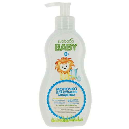 Молочко для купания детское `SVOBODA BABY` без слез 300 млСредства по уходу<br>Небольшое количество молочка нанесите на тело и волосы, вспеньте и смойте водой.<br>