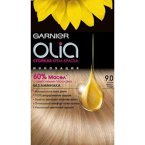 Краска для волос `GARNIER` `OLIA` Тон 9.0 (Очень светло-русый)Окрашивание<br>Garnier Olia - первая стойкая крем-краска без аммиака c цветочным маслом. Olia обеспечивает максимальную силу цвета и заметно улучшает качество волос. Обеспечивает уникальное чувственное нанесение, оптимальный комфорт кожи головы и обладает изысканным цветочным ароматом. <br>Узнай больше об окрашивании на http://coloracademy.ru//<br>В состав упаковки входит: тюбик с молочком-проявителем; тюбик с крем-краской; флакон с бальзамом-уходом для волос Шелк и Блеск;  инструкция; пара перчаток .<br>